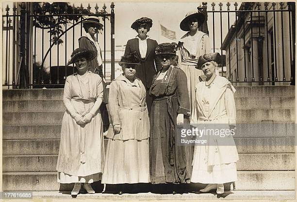 This delegation of officers of the National American Woman Suffrage Association received from President Wilson a memorial to the French women in...