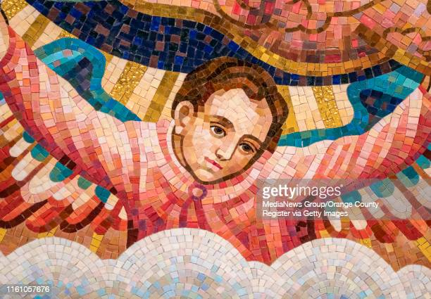This detail photo of the a section of the tile mosaic depicting Our Lady of Guadalupe at Christ Cathedral in Garden Grove on Monday, July 8, 2019...