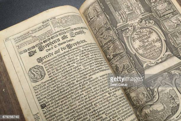 This detail shows a page of a 1642 edition of Martin Luther's translation into German of the Bible in this case known as the Kurfuerstenbibel or the...
