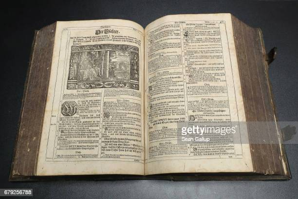 This detail shows the introduction to the Book of Psalms in a 1642 edition of Martin Luther's translation into German of the Bible in this case known...