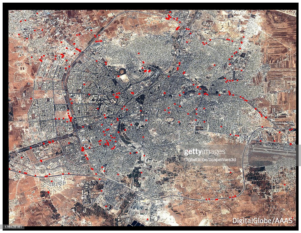 This DigitalGlobe overview satellite image of Aleppo, Syria contains analysis from the American Association for the Advancement of Science that shows 371 roadblocks present in the city on 9 September 2012.