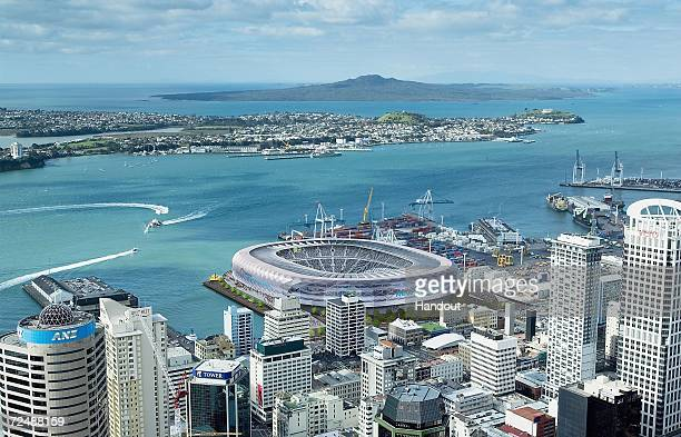 This digitally enchanced handout image provided by Warren and Mahoney shows the proposed plans for New Zealand's new national stadium on the...