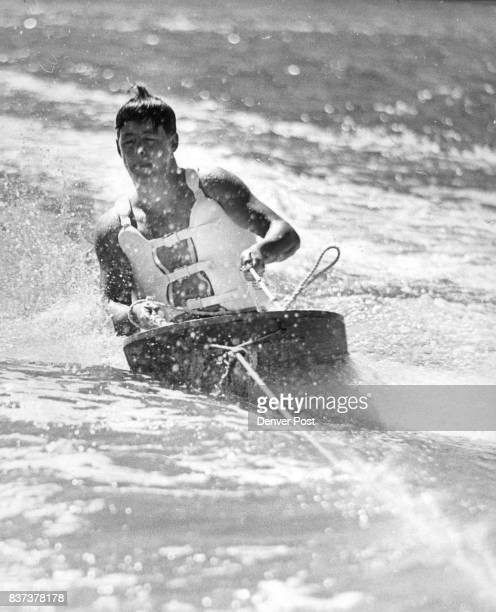 This double amputee Terry Frazier of 5658 S Forest hill Littleton rides the hydroboard like a veteran He is a former patient at Fitzsimons General...