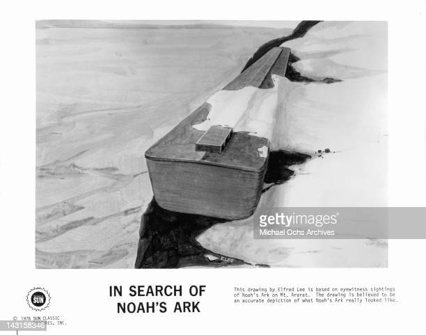This drawing by Elfred Lee is based on eyewitness sightings of Noah's Ark on Mt Ararat in a scene from the documentary film 'In Search Of Noah's Ark'...