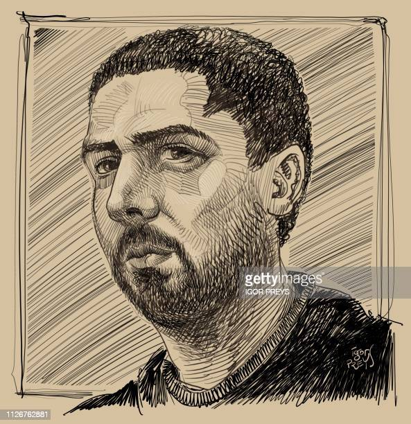 This drawing by Igor Preys shows a portrait of the accused Mehdi Nemmouche at a session in the trial regarding the terrorist attack at the Jewish...