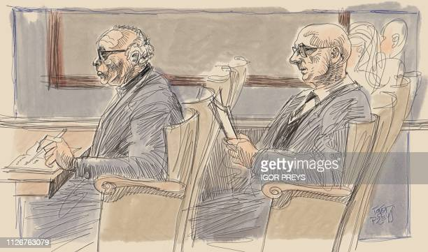 This drawing by Igor Preys shows a session in the trial regarding the terrorist attack at the Jewish Museum in Brussels at the Brussels Justice...