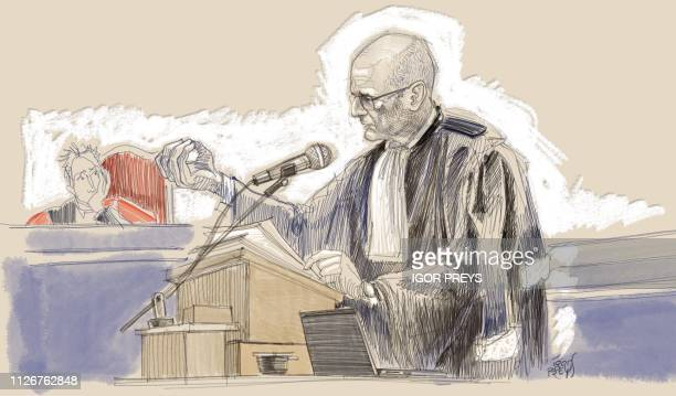 This drawing by Igor Preys shows Lawyer Adrien Masset representing the Jewish museum at a session in the trial regarding the terrorist attack at the...