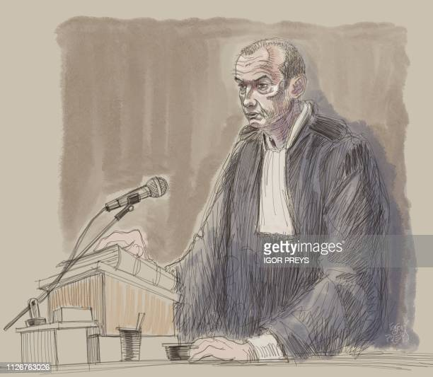 This drawing by Igor Preys shows Lawyer Christian Dalne at a session in the trial regarding the terrorist attack at the Jewish Museum in Brussels at...