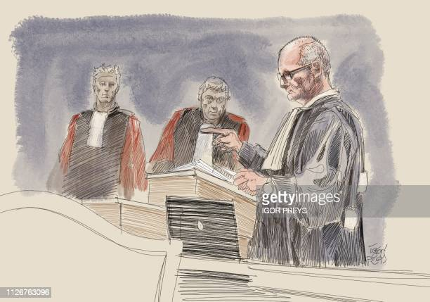 This drawing by Igor Preys shows Lawyer Francois Koning representing Dominique Sabrier relatives during a session in the trial regarding the...