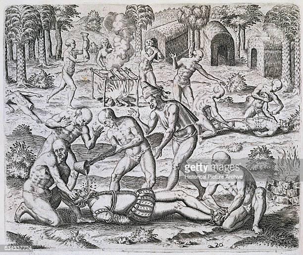 This engraving was included in Theodor de Bry's 15941596 edition of La Historia del Mondo Nuovo by Girolamo Benzoni originally published in 1565