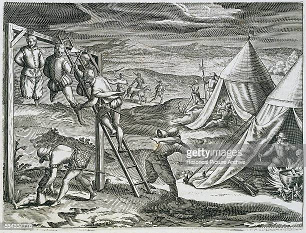 This engraving was included in Theodor de Bry's 15941596 edition of La Historia del Mondo Nuovo by Girolamo Benzoni originally published in 1565 It...