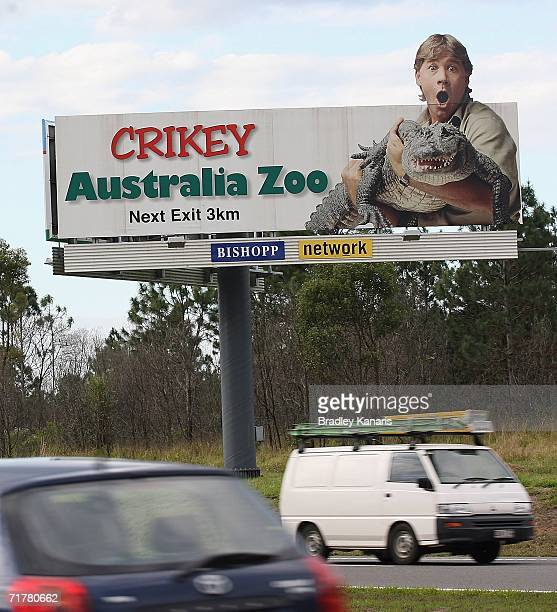 This exit sign for Steve Irwin's Australia Zoo is famous to many Queenslanders situated on the Bruce Highway heading north from Brisbane to the...