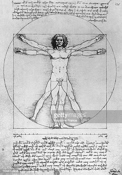 This famous drawing from Leonardo da VINCI representing the human body in a circle delimiting and fixing the ideal anatomic proportions It was drawn...
