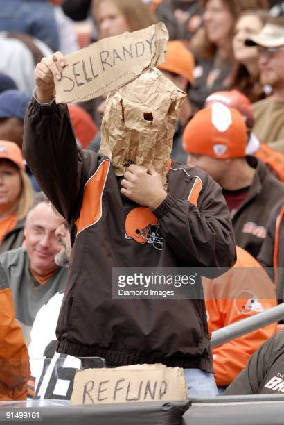 This fan of the Cleveland Browns shows their unhappiness with the Browns' performance by asking for a refund and asking for owner Randy Lerner to...