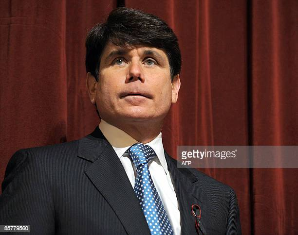 This February 15 2008 file photo shows then Illinois Governor Rod Blagojevich during a press conference at Northern Illinois University in DeKalb...