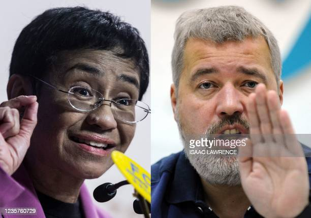 This file combination of pictures created on October 08 shows Maria Ressa , co-founder and CEO of the Philippines-based news website Rappler,...