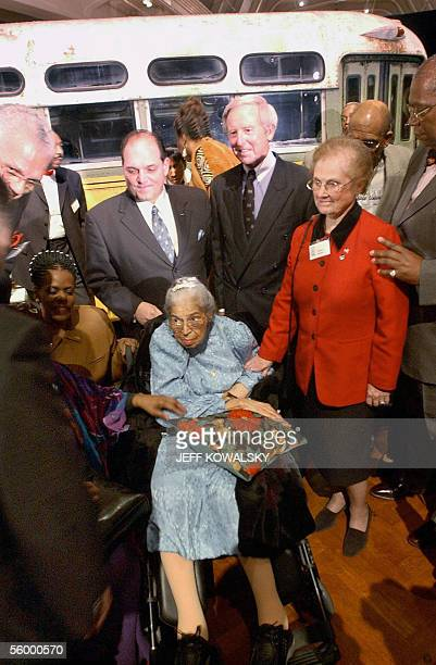 This file photo dated 01 December 2001 shows US civil rights icon Rosa Parks attending the commemoration of the 46th anniversary of her arrest aboard...
