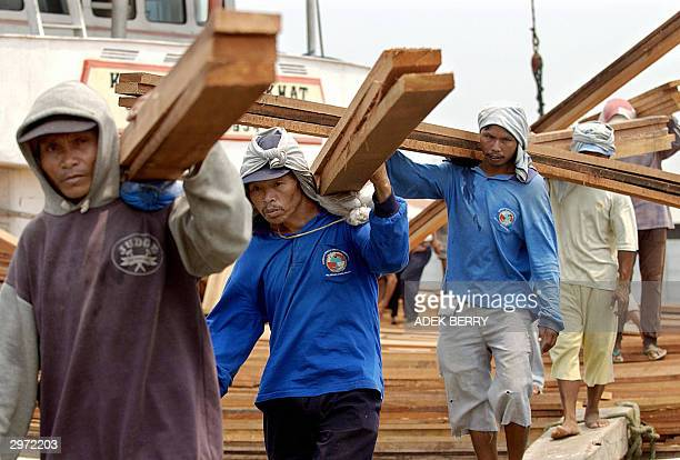 This file photo dated 03 September 2003 shows Indonesian workers unloading timber from a ship at Sunda Kelapa port in Jakarta. Activists at a UN...