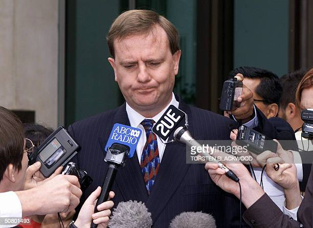 This file photo dated 05 April 2000 shows Australian Treasurer Peter Costello facing the media outside Parliament House in Canberra Costello is...