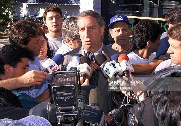 This file photo dated 08 January 2002 shows Former Argentina soccer coach Carlos Bilardo speaking with reporters in Maldonado Uruguay Bilardo who has...