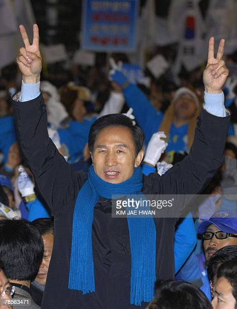 This file photo dated 18 December 2007 shows South Korea's opposition Grand National Party presidential candidate Lee MyungBak gesturing during a...