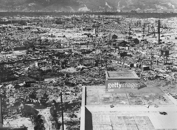 This file photo dated 1945 shows the devastated city of Hiroshima in days after the first atomic bomb was dropped by a US Air Force B29 06 August...