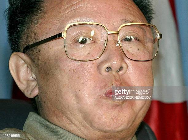 This file photo dated 23 August 2002 shows North Korean leader Kim JongIl listening to Russian President Vladimir Putin during their meeting in...