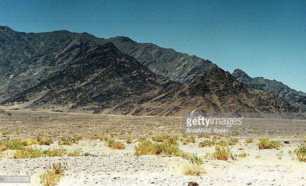 This file photo dated 29 May 1998 shows a view of the Chaghi district hill in Chattar some 30 to 35 kilometers from the site of nuclear blasts that...