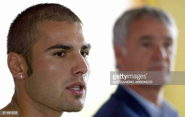 This file photo shows Adrian Mutu with former Chelsea manager Claudio Raneri at a press conference in London 22 August 2003 announcing his transfer...