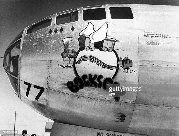 This file photo taken 29 March 1946 in Roswell New Mexico shows the US military airplane nicknamed Bockscar which dropped the atomic bomb on Nakasaki...