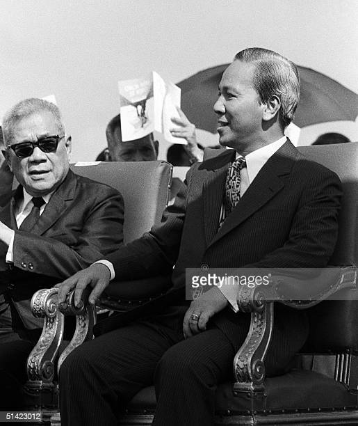 This file photo taken November 1972 shows former South Vietnamese President Nguyen Van Thieu and former South Vietnamese Vice President Tran Van...