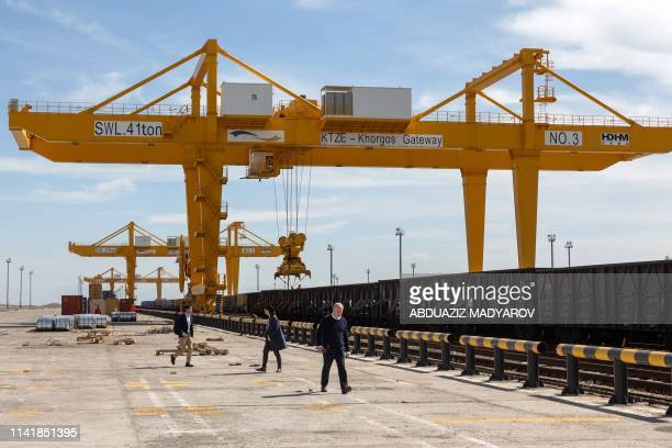 This file photo taken on April 15, 2019 shows the KTZE-Khorgos Gateway Dry port, a logistics hub on the Kazakh side of the Kazakhstan-Chinese border,...