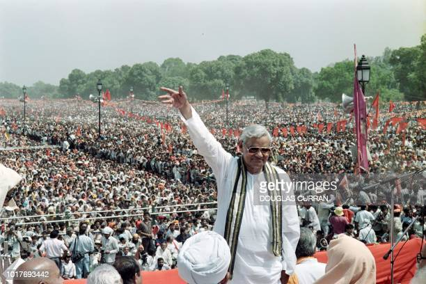 This file photo taken on April 4 1991 shows then Indian Prime Minister Atal Bihari Vajpayee leading figure of the Hindu fundamentalist Bharatiya...