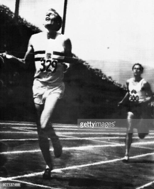This file photo taken on August 8 1954 shows British runner Roger Bannister winning the race ahead of Australian competitor John Landy during the...