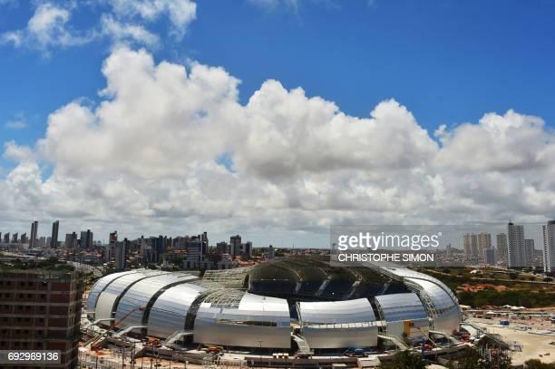 This file photo taken on December 8, 2013 shows the Arenas das Dunas stadium in Natal, northeastern Brazil. Former minister Hernique Eduardo Alves...