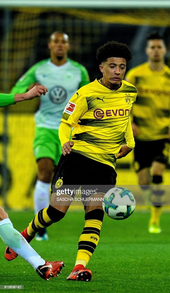 This file photo taken on January 14, 2018 shows Dortmund's English midfielder Jadon Sancho during the German first division Bundesliga football match BVB Borussia Dortmund vs VfL Wolfsburg, in Dortmund, western Germany. Sancho is one of the five youngsters currently impressing in Germany's top flight. /