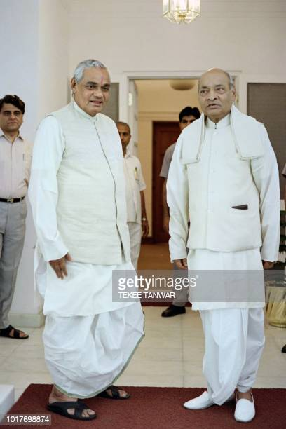 This file photo taken on May 17 1996 shows Indian Prime Minister Atal Bihari Vajpayee leader of the right wing Bharatiya Janata Party and his...