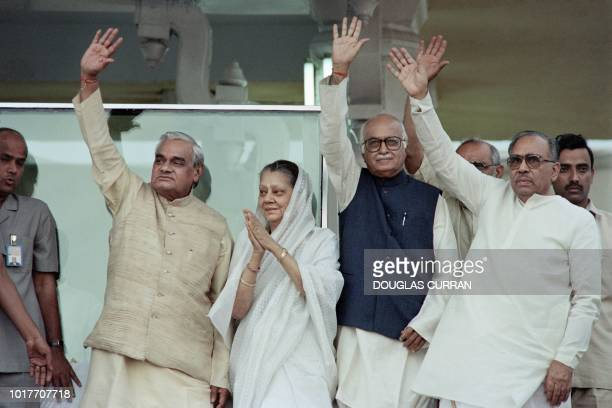 This file photo taken on May 19 1996 shows Indian Prime Minister Atal Bihari Vajpayee leader of the right wing Bharatiya Janata Party taking part in...
