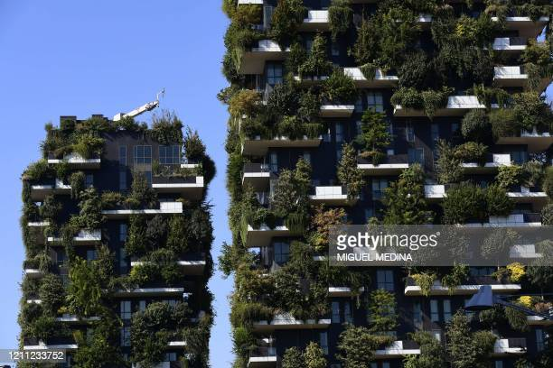 """This file photo taken on September 5, 2017 shows a detail of the architectural complex designed and worn by Studio Boeri, the """"Bosco Verticale"""" in..."""