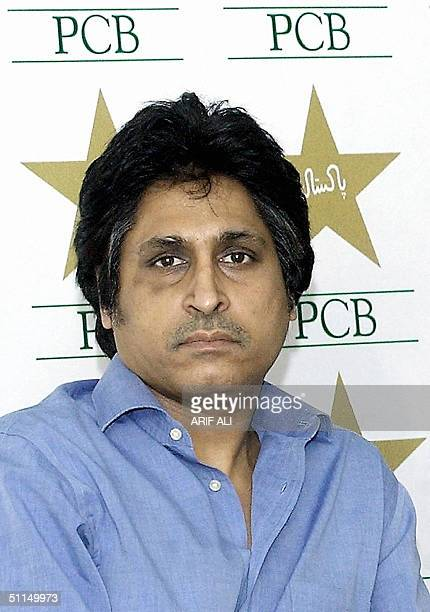 This file picture dated 08 May 2004 shows Pakistan Cricket Board Chief Executive and former national team captain Ramiz Raja during a press...