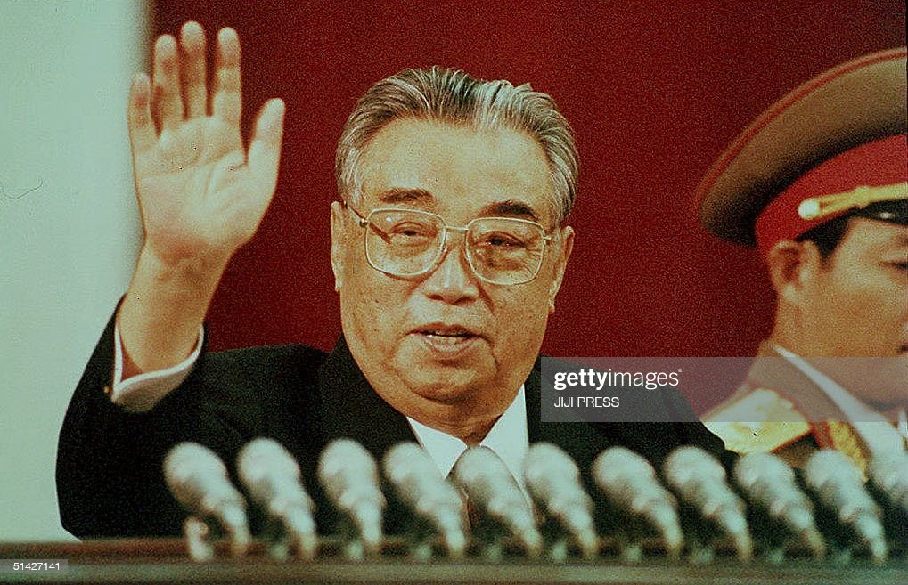 This file picture dated 15 April 1992 shows North Korean President Kim Il-Sung waving during the celebration marking his 80th birthday at Kim Il-Sung stadium in Pyongyang. The Chinese government announced last week it would not send 'anyone' to attend Il-Sung's 92nd anniversary in response to North Korea's refusal of international nuclear inspections.