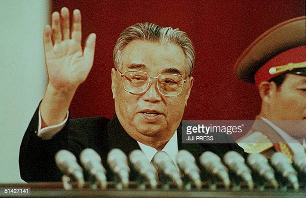 This file picture dated 15 April 1992 shows North Korean President Kim Il-Sung waving during the celebration marking his 80th birthday at Kim Il-Sung...