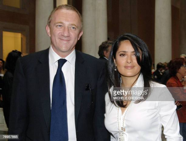 This file picture dated 29 April 2006 shows Mexican actress Salma Hayek posing with her fiance French bussinessman FrancoisHenri Pinault at the...