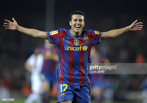 This file picture dated April 14 2010 shows Barcelona's forward Pedro Rodriguez celebrating after scoring against Deportivo Coruna during their...