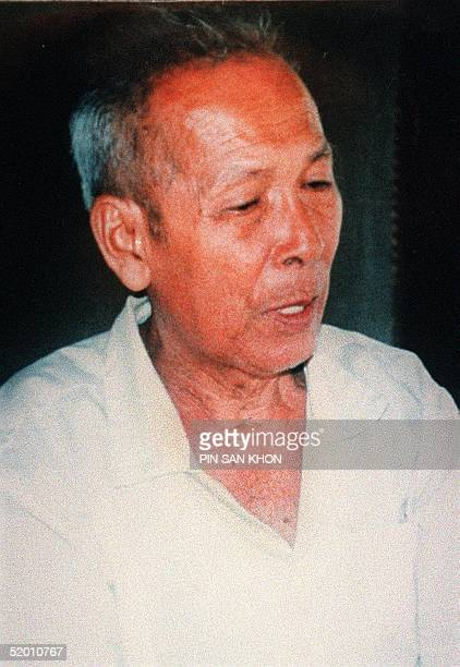 This file picture from 1998 shows the notorious Khmer Rouge military chief Ta Mok at his home in Anlong Veng two weeks before the death of former...