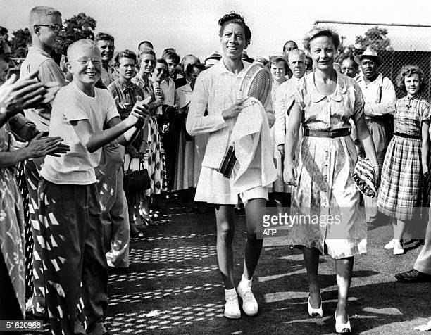 This file picture from the mid 1950's shows US tennis player Althea Gibson According to reports Gibson the first black to play at US championships...