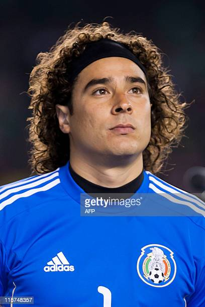 This file picture shows Mexican national football team goalkeeper Guillermo Ochoa before their friendly match with Venezuela on March 29 2011 in San...