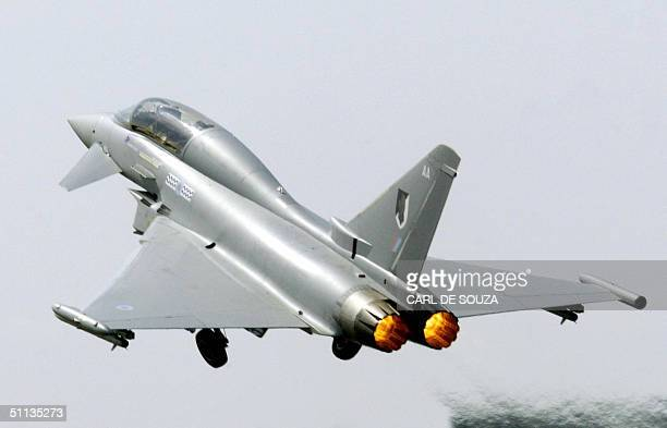 This file picture shows the Eurofighter Typhoon taking off on the first public day at the Farnborough Airshow Britain 24 July 2004 Britain Germany...