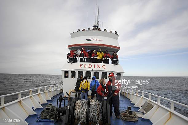 This file picture shows tourists trying to spot whales, off the shore of Reykjavik harbour on April 23, 2009. Plans to resume the hunting of humpback...