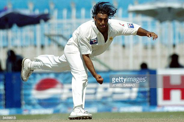 This file picture taken 14 April 2004 shows Pakistani speed star Shoaib Akhtar delivering a ball during the third Test match between Pakistan and...